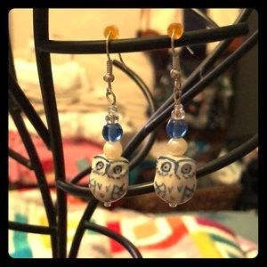 Blue and White Ceramic Owl Earrings